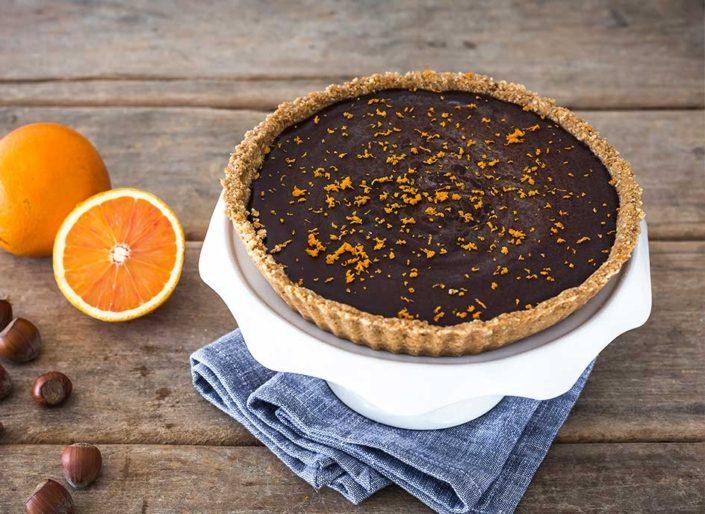 hazelnut chocolate tart with orange zest