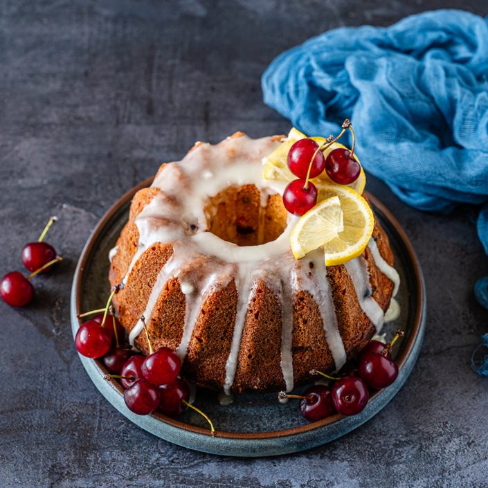lemon olive oil bundt cake with sour cherries