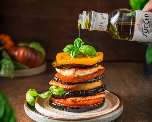 Eggplant Tomato Halloumi Stacks with basil olive oil